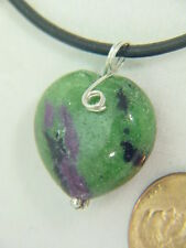 BUTW ruby in zoisite sterling  wire wrapped  lapidary puff heart pendant 4702B