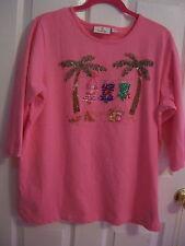 QUACKER FACTORY Hot Pink Summer Vacation Beaded T-Shirt M