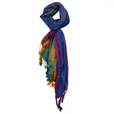 Blue Gradient Color Peacock Feather Print Tassels Pashmina T8