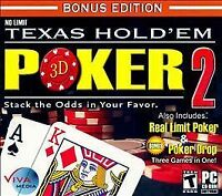 Video Game PC No Limit Texas Hold em 3D Poker 2 Bonus Edition NEW SEALED Jewel