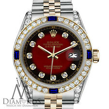 Rolex 31mm Datejust 2 Tone Red Vignette Accent Dial with Sapphire & Diamond
