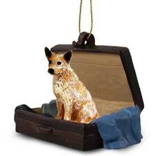 Australian Cattle Dog Brn Traveling Companion Dog Figurine In Suit Case Ornament