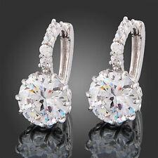 Women's Earrings 18k White Gold Clear Round Crystal Zircon fu