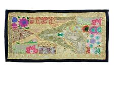 Wall Hanging artVintage Antique Hippie Hippy Embroidered Patchwork Tapestry