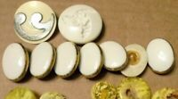 Huge Lot 9 Vintage Mid Early Century White Enamel Plastic Buttons