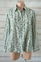 Black Pepper Button Front Shirt Blouse Size 12 Green White Striped Floral