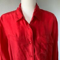 The Limited Red Silk Long Sleeve Button Up Blouse Career Work Wear Holiday Sz M