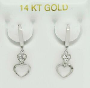 WHITE SAPPHIRE HUGGIES HEART EARRINGS 14K WHITE GOLD * New With Tag