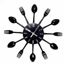 Modern Black Cutlery Kitchen Retro Wall Clock Fork and Spoon Novelty Decoration