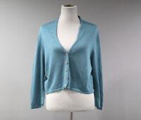 J Jill Cardigan Sweater Womens Petite Large 3/4 Sleeve Linen Blend  F