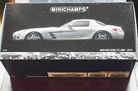 Minichamps 1:18 Mercedes Benz SLS Gullwing in Gunmetal Silver MINT in Box