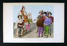 1843 Henry Shaw Print - Proclamation of a Tournament by King of Arms of Brittany