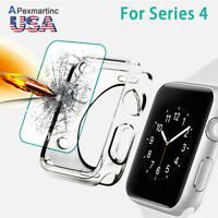 Tempered Glass Screen Protector+Ultra Thin TPU Case For Apple Watch iWatch 4