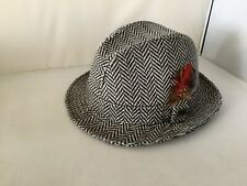 Kangol Men's Tradional Trilby Hat, Grey/brown Herringbone, Medium, Excellent