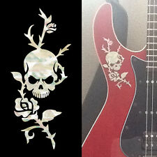 Rose & Skull ( White Pearl ) Cool Inlay Sticker Decal Guitar & Bass