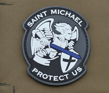 "PVC / Rubber Patch ""Saint Michael L.E. Thin Blue Line"" with VELCRO® brand hook"