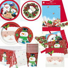 8 / 16 Guests Christmas XMAS Party Supplies Tableware Decoration Plates Covers