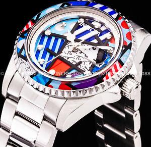 Invicta Men BRITTO Pattern MULTI COLOR Dial Bezel Silver Bracelet Ltd Ed Watch