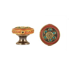 EMBROIDERY PATTERN 30mm CABINET DRAWER PULL CUPBOARD KNOB - ANTIQUE BRASS BASE