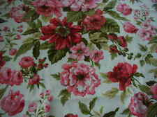 1.7 yards red pink cabbage roses upholstery fabric cotton 48 x 62