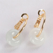 Natural Ring jadeite Earring 18KGP Dangle Holiday gifts Party Earbob Women