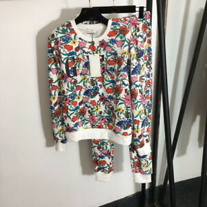 Women Clothing New Tops+Pants Suits 2/PCS Tracksuits Sets Print Casual Hooded