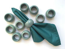 New listing 10 Lacquered/ Painted Wood Napkin Rings; Smokey Teal unused Vtg 1980s; 1-chipped