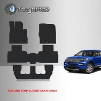 ToughPRO Floor Mats + 3rd Row Black For Ford Explorer 2nd Row Bench 2020-2021
