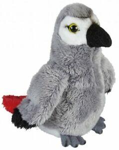 RAVENSDEN SOFT TOY AFRICAN GREY PARROT 15CM BIRD RIO TROPICAL CUDDLY GIFT IDEA