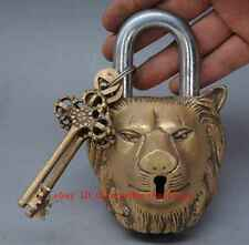 chinese old fengshui copper hand-carved Lion Head LOCK  d02