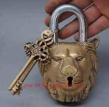 Lion Head Lock Heavy Big Padlock brass keys antique look Sing Pad Vintage lion