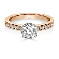 2.00 Ct VVS1/D Round Bridal Diamond Engagement Ring 18K Solid Rose Gold Rings