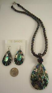 Lee Sands Abalone Teardrop w Glass rope Necklace & Earring Set