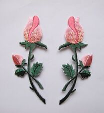 #4527 Lot 2Pcs Red Rose Embroidery Iron On Appliqué Patch / Pair