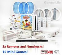 Wii Nintendo Console 3 PLAYER Bundle 3 Remotes 3 Sports Packs, 15 GAMES