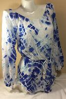 $79 NWT VICTORIAS SECRET Tassel Romper Swim Cover-Up OnePiece Blue &White Medium