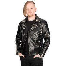 Black Pistol Punk Goth Kunstleder Nieten Spikes Jacke Bikerjacke - Rockers