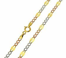 14K Solid 3 Tri-Color Gold 3.7mm Stamped Figaro Chain 18 Inches