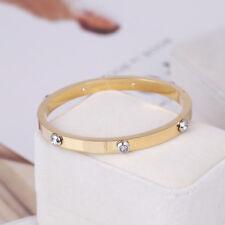 Henri Bendel Gold Metal Rivet Logo Crystal Bangle Bracelet - Petite  w/ Gift Box