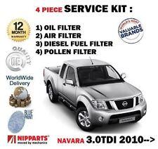 Per NISSAN NAVARA D40 3.0 TD 6/2010 - & GT Servizio Kit Olio Aria Carburante Polline Filtro impostato