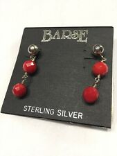 """Vtg 90s NOS Sterling Silver Pierced 1"""" Dangle Facet Cut Red Glass Ball Bead"""