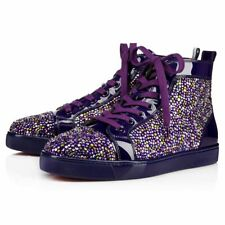NEW Christian Louboutin Louis Flat Mens Patent Strass Purple Sneakers 44