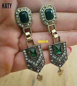 Egyptian Revival Earrings Vintage Art Deco Look Green Diamante Crystal Gold