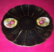 Vintage/Antique☆Lefton☆China☆Hand☆Painted☆Saucer☆Black/Pink/Gold☆JAPAN☆BEAUTIFUL