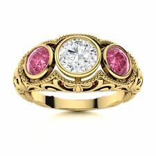 1.44Carat Real SI Diamond Pink Sapphire Antique 14K Yellow Gold Three Stone Ring