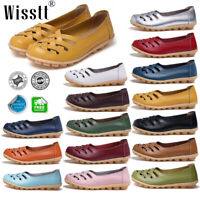 Women's Leather Single Shoes Casual Driving Moccasin Peas Flats Loafers Slip On