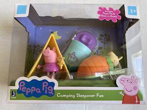 Peppa Pig Camping Sleepover Fun Playset Includes Peppa & Rebecca Rabbit Tent New