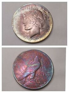 1927 US Peace Dollar 90% Silver Lot Birthday Gift Gold Toned Rainbow Art Coin