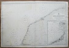 1894 FRANCE HAVRE TO RIVER DURDENT LE HAVRE GENUINE VINTAGE ADMIRALTY CHART MAP