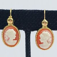 Vintage Cameo Pierced Earrings Lady Profile Gold Tone Oval Drop